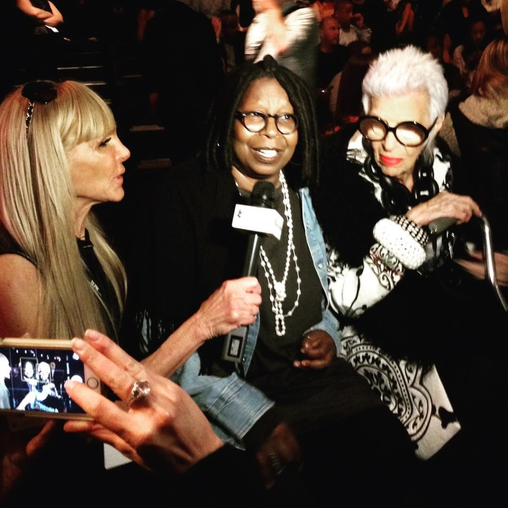 People watching before the Carmen Marc Valvo show. Sometimes the preshow can be just as entertaining as the actual show. #carmenmarcvalvo #nyfw #nyfw15 #whoopi #irisapfel #interview #fashion #fashionicon #fashionweek #newyork #instafashion #style #styling #theview #peoplewatching
