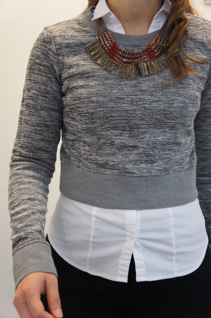 Red Statement Necklace - Gray Sweater