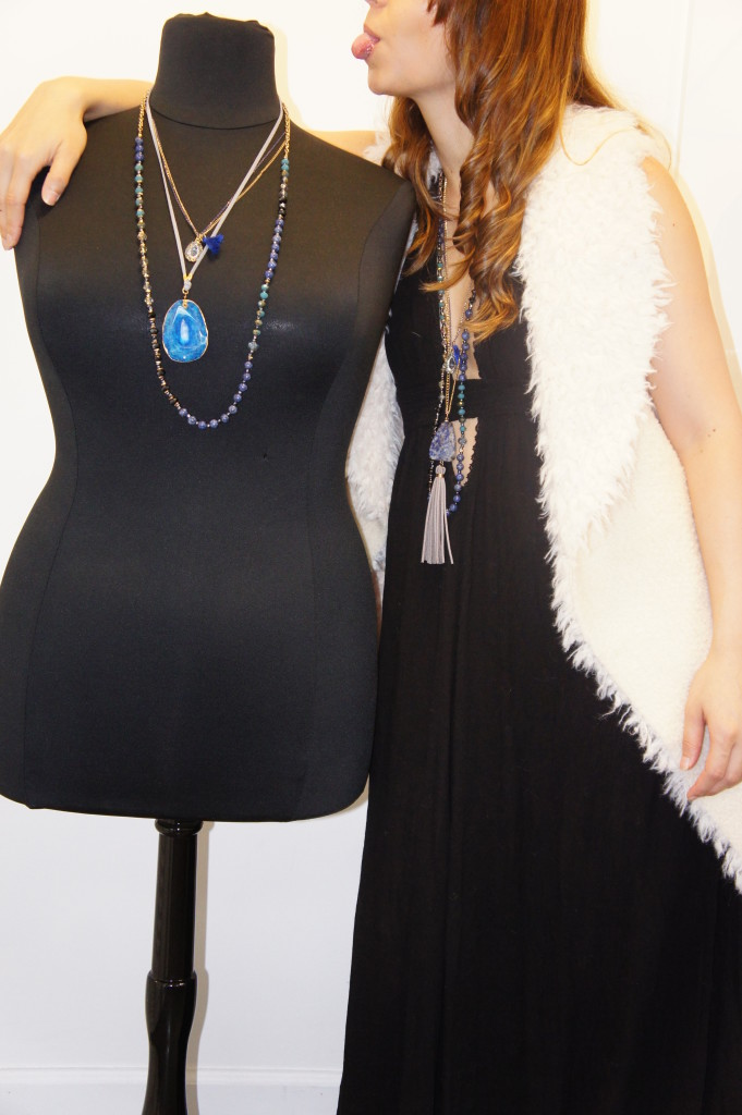 Blue Layered Necklace - Black Dress