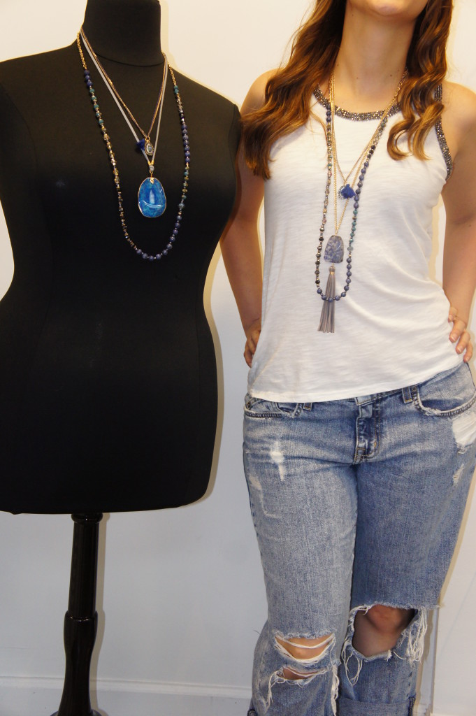 Blue Layered Necklace - White Blouse